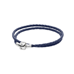 Moments Double Woven Leather Bracelet, Blue