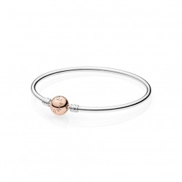 Moments Silver Bangle, PANDORA Rose Clasp