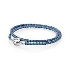 Moments DoubleWoven Leather Bracelet, Blue Mix