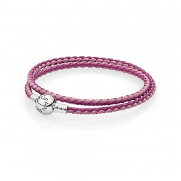 Moments Double Woven Leather Bracelet, Pink Mix