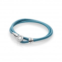 Moments Double Leather Bracelet, Turquoise