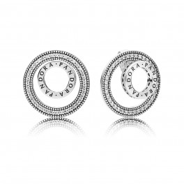 PANDORA logo silver earrings
