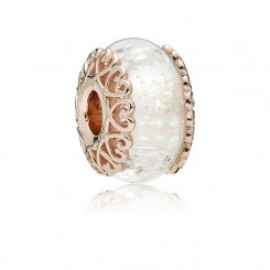 PANDORA Rose Iridescent White Glass
