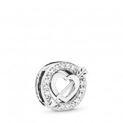 PANDORA Reflections Asymmetric Heart & Bow Clip Charm