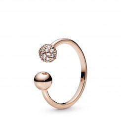PANDORA Rose Polished & Pavé Open ring