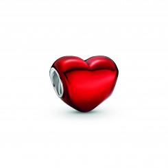 PANDORA Metallisk Rødt Hjerte Charm