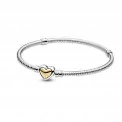 PANDORA Slangekædearmbånd med Gyldent Hjerte Lås